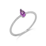 Dainty  (LCAL) Alexandrite Pear Shape Rope Ring in White Gold