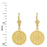 Solid Yellow Gold Yantra Tantric Indian Yoga Disc Circle Earring Set