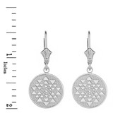 Sterling Silver Yantra Tantric Indian Yoga Disc Circle Earring Set