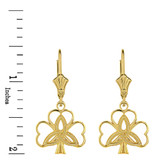 Solid Yellow Gold Triquetra Irish Celtic Clover Earring Set
