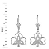 Sterling Silver Triquetra Irish Celtic Clover Earring Set