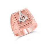 Two-Tone Rose Gold Men's Masonic Ring
