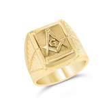 Yellow Gold Men's Masonic Ring