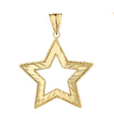 Chic Sparkle Cut Star Pendant Necklace in Yellow Gold