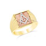 Tri-Color Gold Masonic Ring