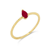 Dainty Genuine Ruby Pear Shape Rope Ring in Yellow Gold