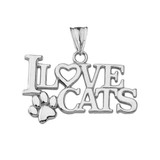 """""""I Love Cats"""" Pendant Necklace in White Gold"""