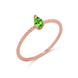 Dainty Genuine Peridot Pear Shape Rope Ring in Rose Gold