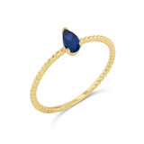 Dainty Genuine Sapphire Pear Shape Rope Ring in Yellow Gold