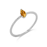 Dainty Genuine Citrine Pear Shape Rope Ring in White Gold