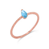 Dainty Genuine Blue Topaz Pear Shape Rope Ring in Rose Gold