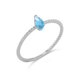 Dainty Genuine Blue Topaz Pear Shape Rope Ring in White Gold