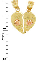 Gold Pendants - Two Tone Gold Te Amo Breakable Heart Pendant