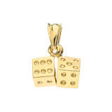 3D Playing Dice Pendant Necklace in Yellow Gold