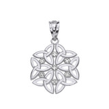 Sterling Silver CZ Triquetra Celtic Dara Endless Knot Pendant Necklace