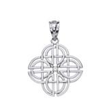 Solid White Gold Single Diamond Celtic Knot Geometric Circular Pendant Necklace