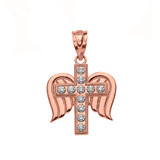 Solid Rose Gold Diamond Winged Cross Pendant Necklace