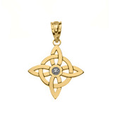 Solid Yellow Gold Single Diamond Wiccan Witch's Knot Pagan Pendant Necklace