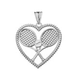 Detailed Tennis Rackets in Heart Pendant Necklace in Sterling Silver
