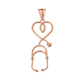 Stethoscope Heart Pendant Necklace in Rose Gold