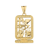 Ancient Egyptian Cartouche Pendant Necklace in Yellow Gold