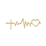 14K Heartbeat with Cross Necklace in Yellow Gold