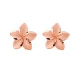 Plumeria Flower Stud Earrings in 10K Rose Gold