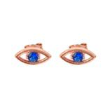 Evil Eye Stud Earrings in 10K Rose Gold