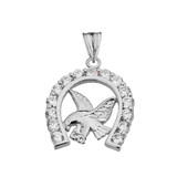 American Eagle in CZ Horseshoe Pendant Necklace in Sterling Silver