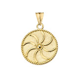 """Armenian Eternity (0.94"""") Pendant Necklace in Yellow Gold"""