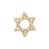 Jewish Star of David with Hidden Bail Pendant Necklace in Yellow Gold
