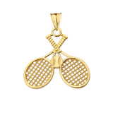 Detailed Tennis Rackets Pendant Necklace in Yellow Gold