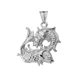 Pisces Pendant Necklace in White Gold