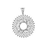 Handmade Designer Bohemian Statement Pendant Necklace in White Gold