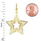 Handmade Designer Boho Chic Star Statement Earrings in Yellow Gold