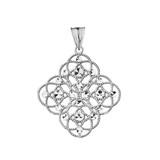 Handmade Designer Boho Chic Statement Pendant Necklace in Sterling Silver