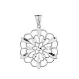 Handmade Designer Boho Floral Milgrain Statement Pendant Necklace in Sterling Silver