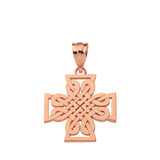 Solid Rose Gold  Woven Celtic Cross Pendant Necklace