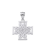 Sterling Silver Woven Celtic Cross Pendant Necklace