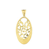 Handmade Designer Bohemian Filigree Oval Statement Pendant Necklace in Solid Yellow Gold
