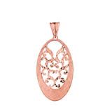 Handmade Designer Bohemian Filigree Oval Statement Pendant Necklace in Solid Rose Gold
