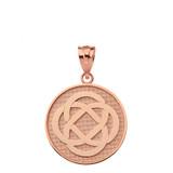 Solid Rose Gold Celtic Knot Flower Disc Pendant Necklace