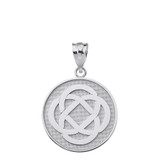 Solid White Gold Celtic Knot Flower Disc Pendant Necklace