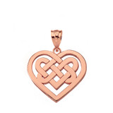 Solid Rose Gold Celtic Knot Woven Heart Pendant Necklace