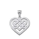 Sterling Silver Celtic Knot Woven Heart Pendant Necklace