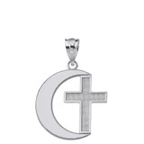 Solid White Gold Crescent Moon and Cross Pendant Necklace