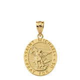 Engravable Saint Michael Pray For Us Oval Pendant Necklace in Gold (Yellow/Rose/White)