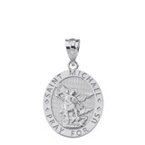Solid White  Gold Engravable Saint Michael Pray For Us Oval Pendant Necklace
