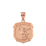 Solid Rose Gold Saint Michael Protect Us Shield Pendant Necklace