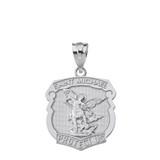 Solid White Gold Saint Michael Protect Us Shield Pendant Necklace